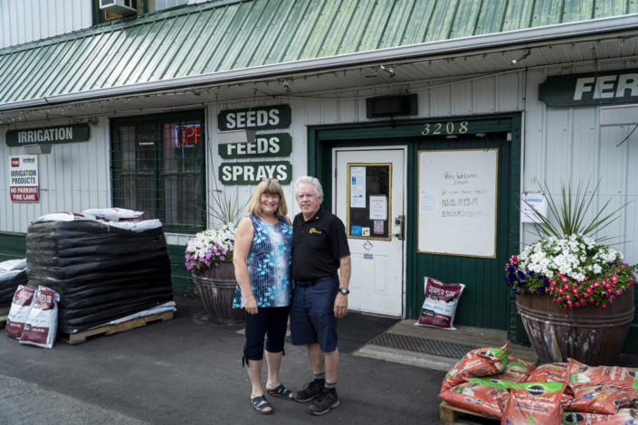 Briteland owners Joanne and Dave Weatherill stand in front of the entrance to Briteland in Vernon.